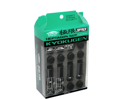 Picture of Project Kics Kyokugen 7-Sided Lug Nuts 12x1.25 Black Closed Ended Lug Nuts