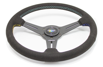 Picture of GReddy 340mm Black Suede Steering Wheel - GPP Colors